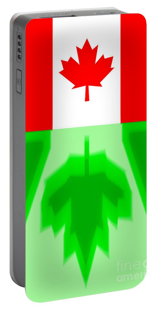 Canada Portable Battery Charger featuring the digital art Canadas Flag Reflection by Algirdas Lukas