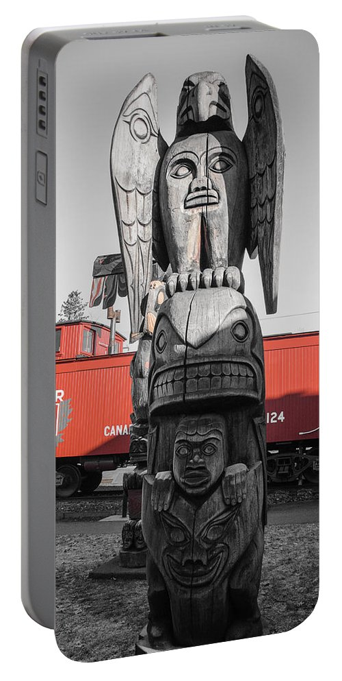 Totem Portable Battery Charger featuring the photograph Canadian Totem And Railway by Roxy Hurtubise