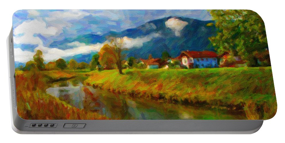 Art Portable Battery Charger featuring the digital art Canal 1 by Chuck Mountain