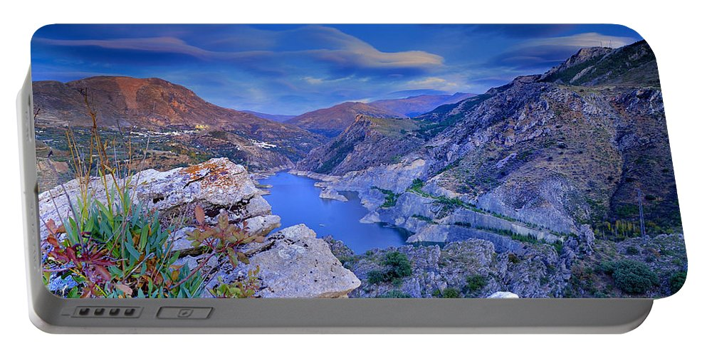 Sunset Portable Battery Charger featuring the photograph Canales Lake by Guido Montanes Castillo