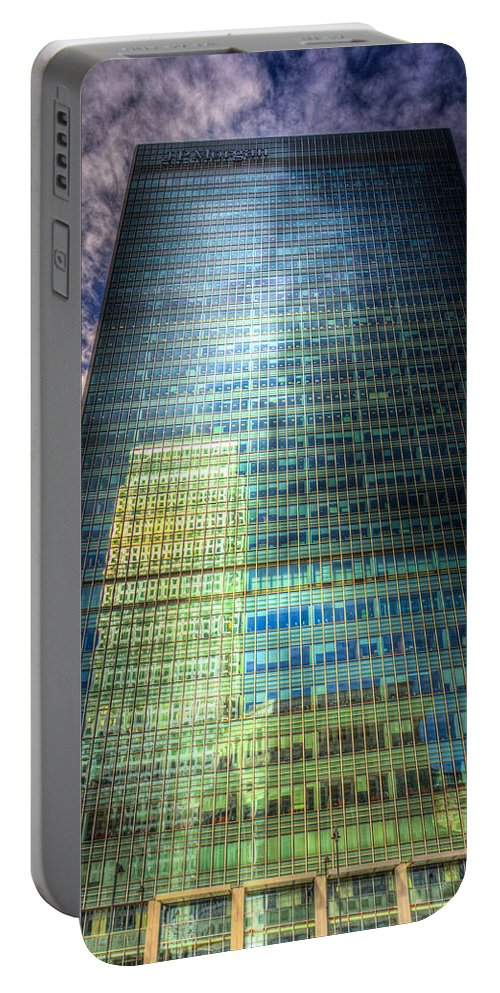 Canary Wharf Tower Portable Battery Charger featuring the photograph Canary Wharf Reflections by David Pyatt