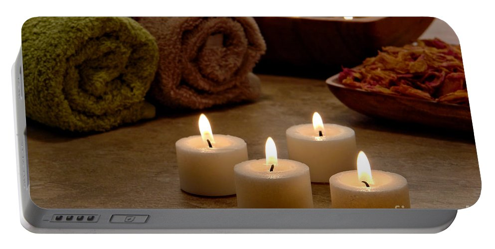 Spa Portable Battery Charger featuring the photograph Candles In A Spa by Olivier Le Queinec