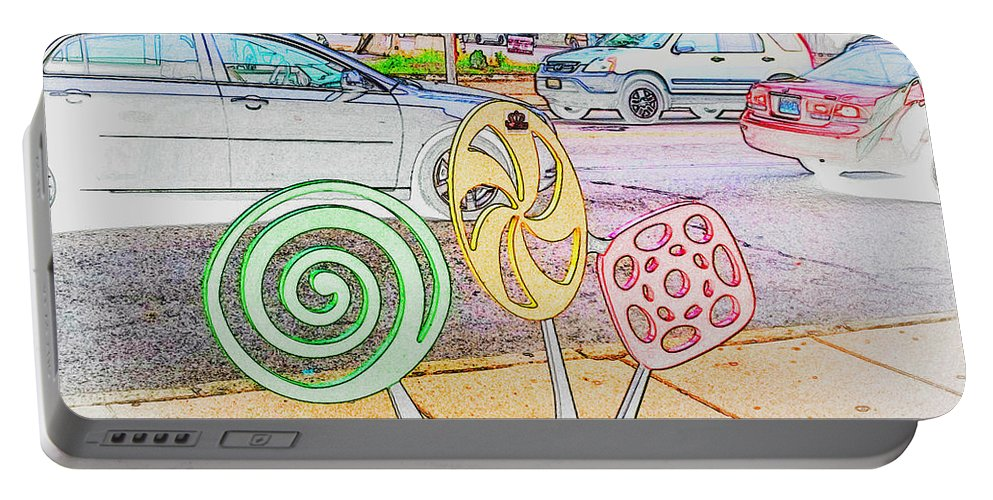 Portable Battery Charger featuring the photograph Candy Bike Rack In Colored Pencil by Kelly Awad