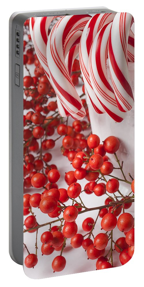 25th Portable Battery Charger featuring the photograph Candy Canes And Red Berries by Garry Gay