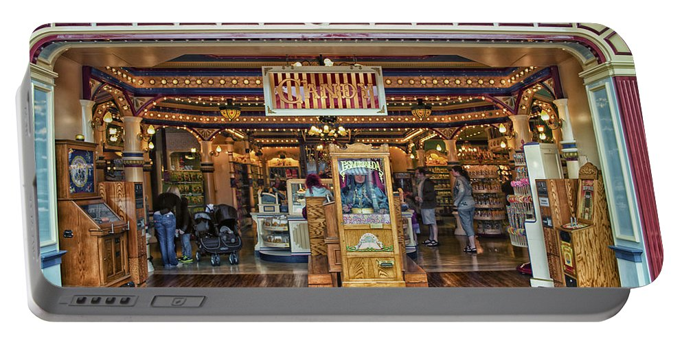 Disney Portable Battery Charger featuring the photograph Candy Shop Main Street Disneyland 01 by Thomas Woolworth