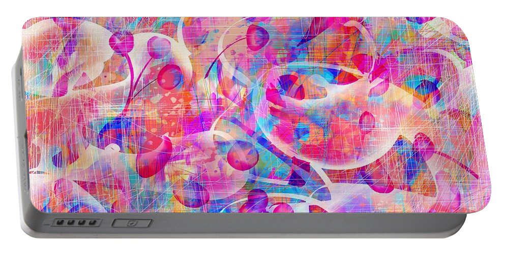 Abstract Portable Battery Charger featuring the digital art Candyland by William Russell Nowicki
