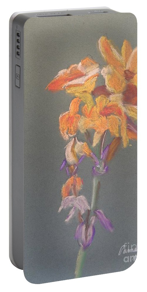 Canna Portable Battery Charger featuring the painting Canna by Pamela Meredith