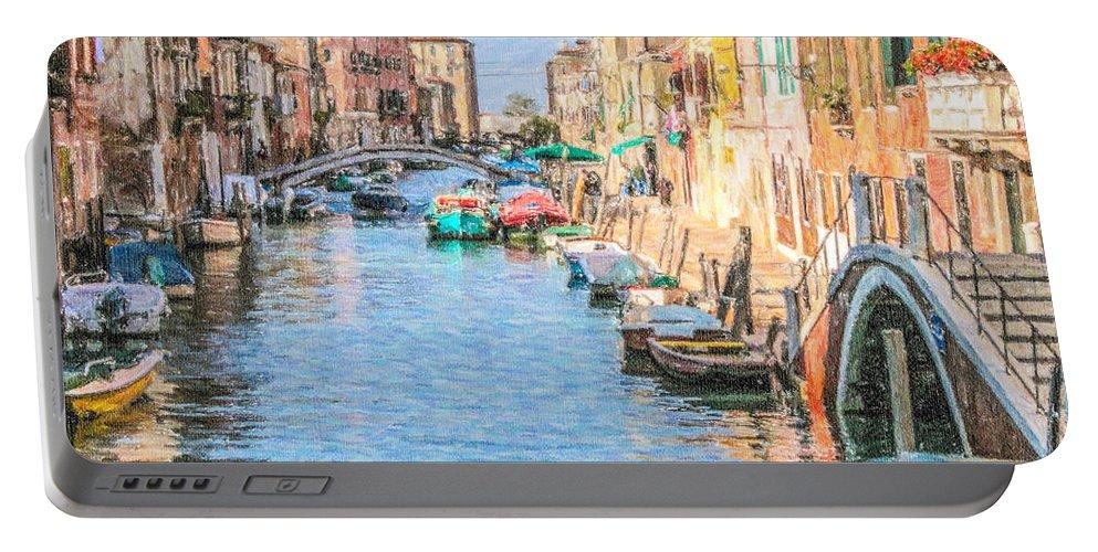Cannareggio Portable Battery Charger featuring the digital art Cannareggio Canal Venice by Liz Leyden