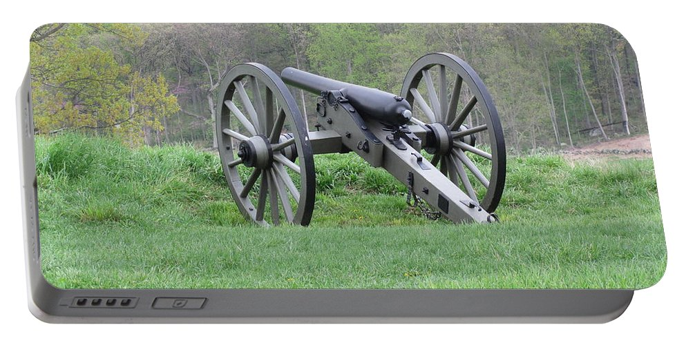 Portable Battery Charger featuring the photograph Cannon On Culp's Hill by Dawn Cassidy