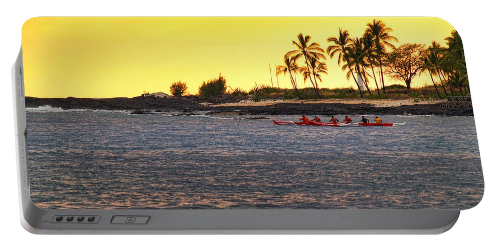 Tropical Portable Battery Charger featuring the photograph Canoe On Kona Coast by Athala Carole Bruckner