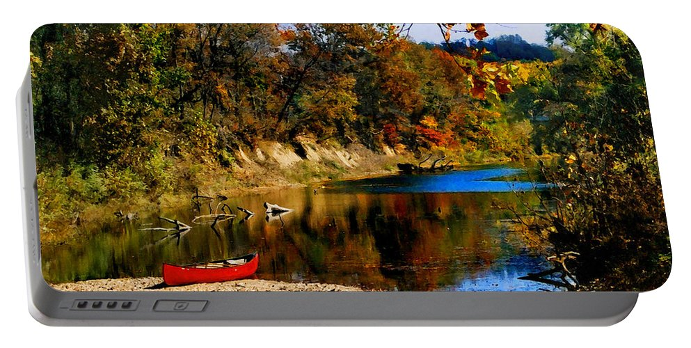 Autumn Portable Battery Charger featuring the photograph Canoe On The Gasconade River by Steve Karol