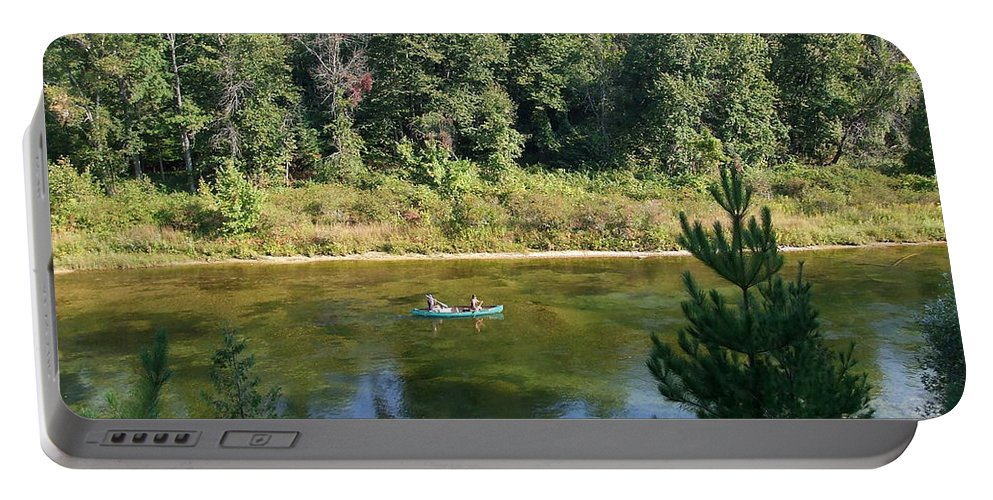 Canoe Portable Battery Charger featuring the photograph Canoeing Michigan's Au Sable by Susan Wyman