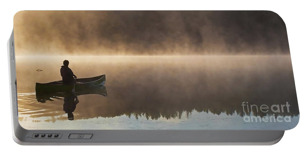 Canoe Portable Battery Charger featuring the photograph Canoeist On A Golden Misty Morning by Barbara McMahon
