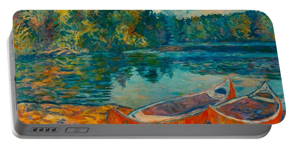 Landscape Portable Battery Charger featuring the painting Canoes at Mountain Lake by Kendall Kessler