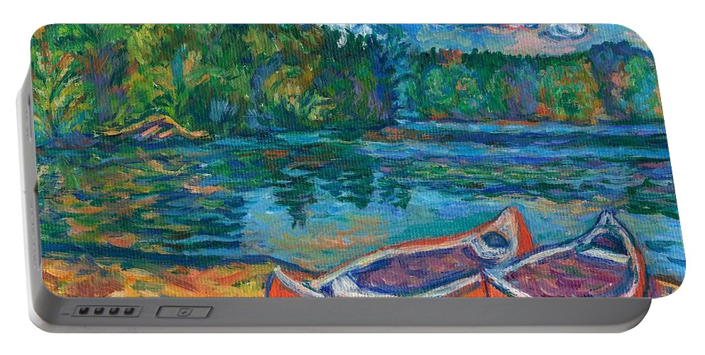 Landscape Portable Battery Charger featuring the painting Canoes at Mountain Lake Sketch by Kendall Kessler