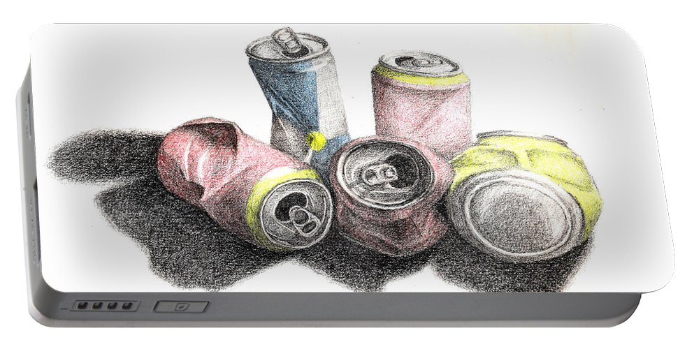 Sketch Portable Battery Charger featuring the drawing Cans Sketch by Conor O'Brien