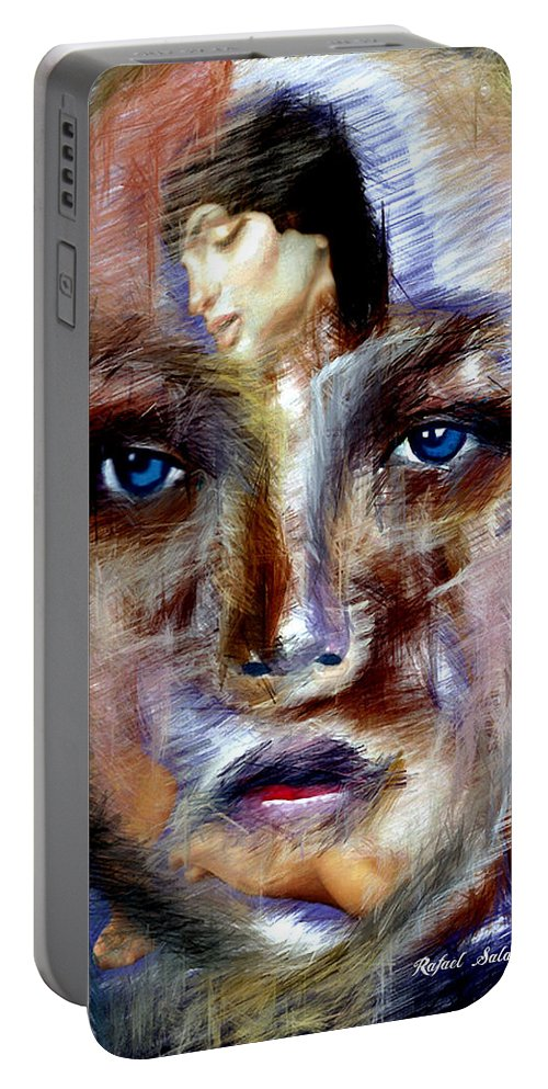 Art Portable Battery Charger featuring the digital art Can't Get You Out Of My Head by Rafael Salazar