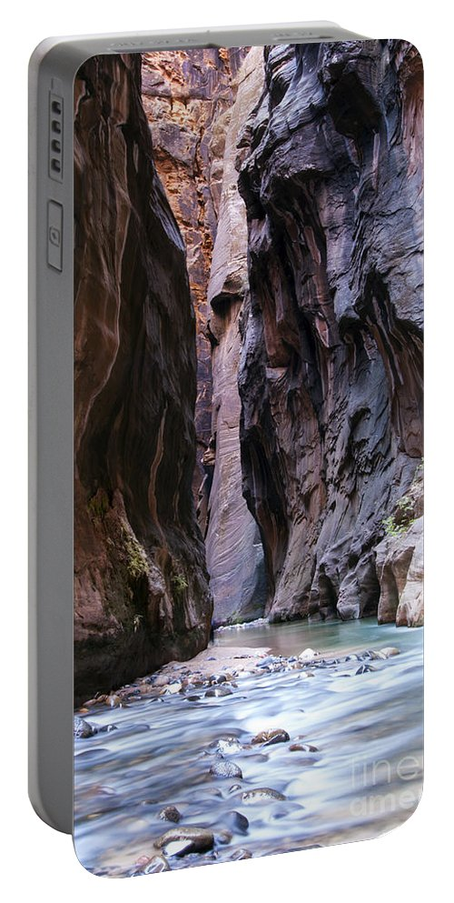 The Narrows Zion National Park Utah Slot Canyon Canyons Water Virgin River Rivers Mountain Mountains Rock Parks Landscape Landscapes Waterscape Waterscapes Trail Trails Portable Battery Charger featuring the photograph Canyon Color by Bob Phillips