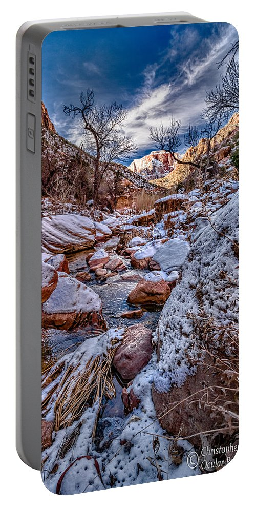 Canyon Portable Battery Charger featuring the photograph Canyon Stream Winterized by Christopher Holmes