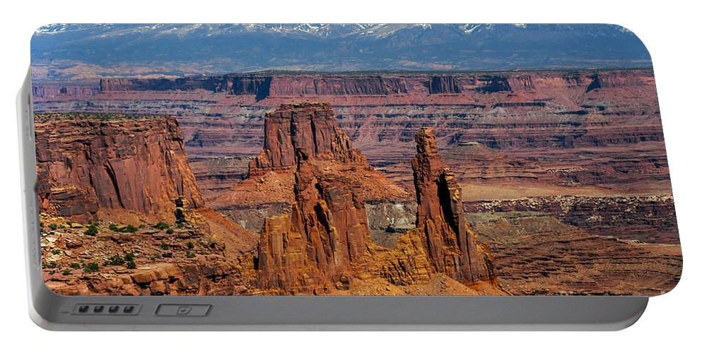 Mesa Arch Overlook Island In The Sky District Canyonlands National Park Utah Parks Mountain Mountains Snow Peaks Peak Canyon Canyons Rivers Rock Formation Formations Landscape Landscapes Desertscape Desertscapes Portable Battery Charger featuring the photograph Canyon View From Mesa Arch Overlook by Bob Phillips