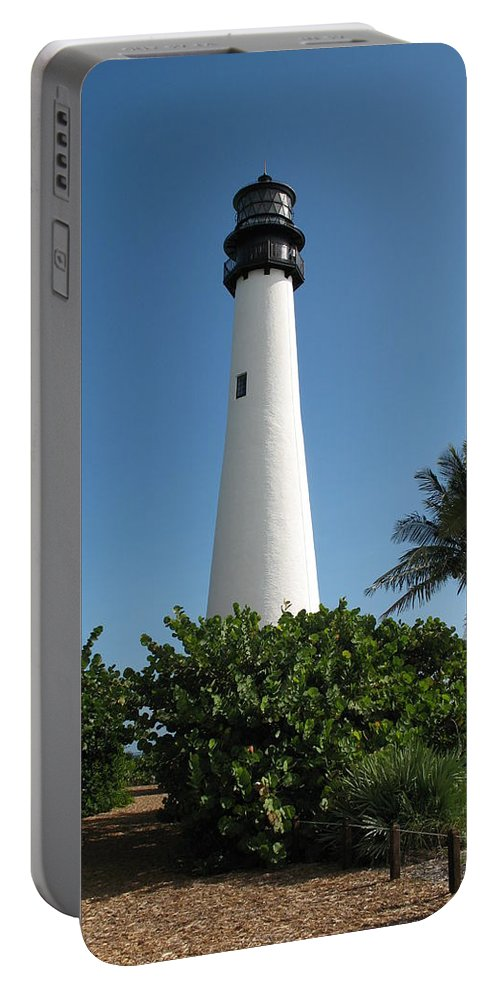 Lighthouse Portable Battery Charger featuring the photograph Cape Florida Lightstation by Christiane Schulze Art And Photography