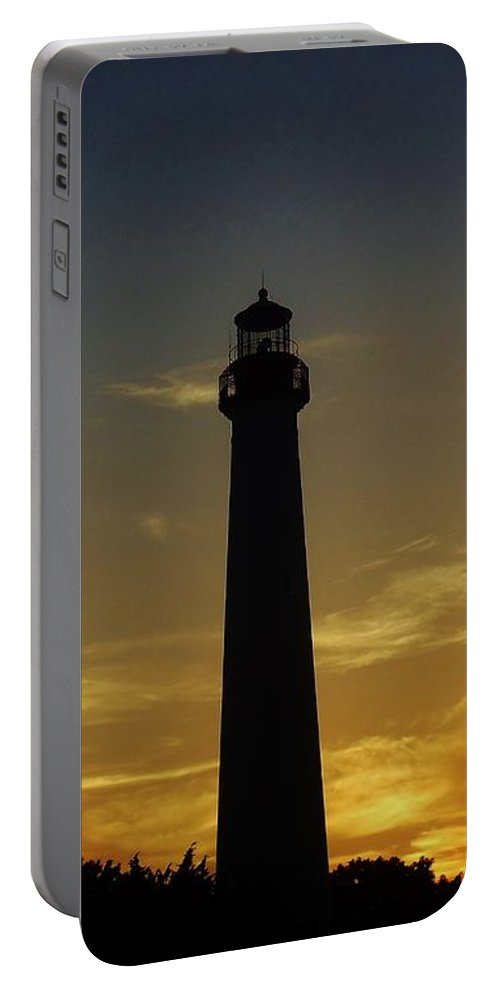 Lighthouse Portable Battery Charger featuring the photograph Cape May Lighthouse At Sunset by Ed Sweeney