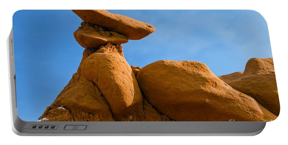 Goblin Valley State Park Utah Red Rock Formations Formations Goblins Winter Snow Landscape Landscapes Portable Battery Charger featuring the photograph Capped Rock by Bob Phillips