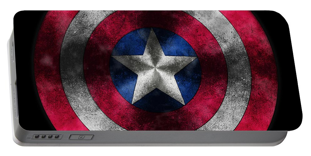Captain America Movie Portable Battery Charger featuring the painting Captain America Shield by Georgeta Blanaru