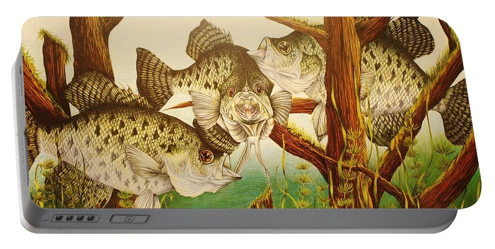 Fishing Portable Battery Charger featuring the drawing Captivating Crappies by Bruce Bley