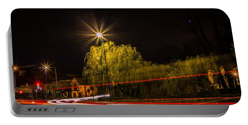 Car Lights Portable Battery Charger featuring the photograph Car Light Trails by Dawn OConnor
