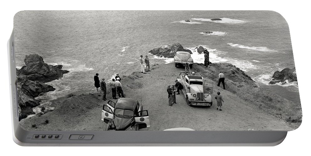 Car Portable Battery Charger featuring the photograph Car Over Edge On Highway One Big Sur California  March 27 1947 by California Views Archives Mr Pat Hathaway Archives