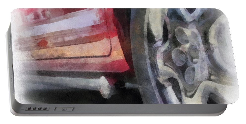 Aluminum Portable Battery Charger featuring the photograph Car Rims 02 Photo Art 01 by Thomas Woolworth