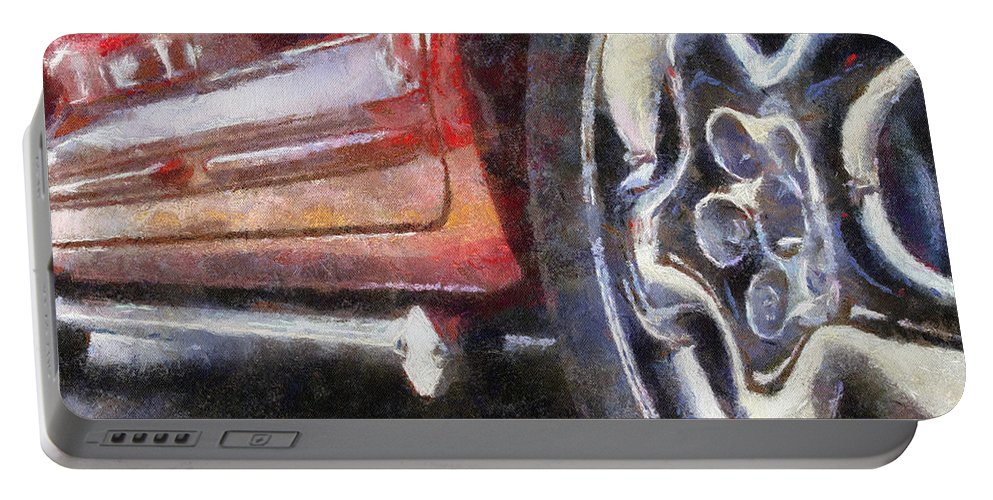 Aluminum Portable Battery Charger featuring the photograph Car Rims 02 Photo Art 02 by Thomas Woolworth