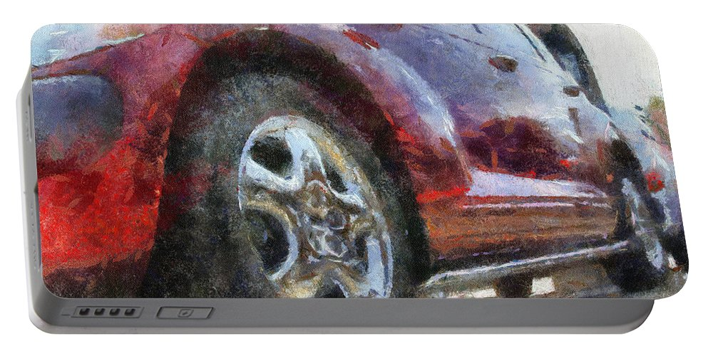 Aluminum Portable Battery Charger featuring the photograph Car Rims 04 Photo Art 02 by Thomas Woolworth