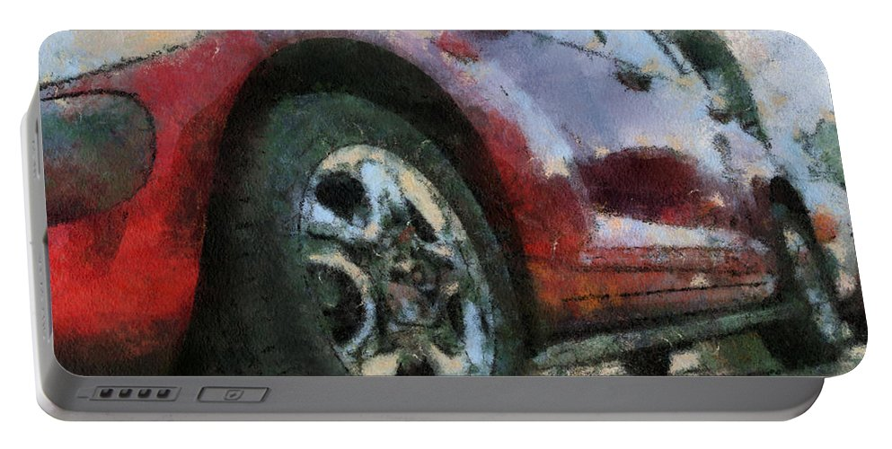 Aluminum Portable Battery Charger featuring the photograph Car Rims 04 Photo Art 03 by Thomas Woolworth