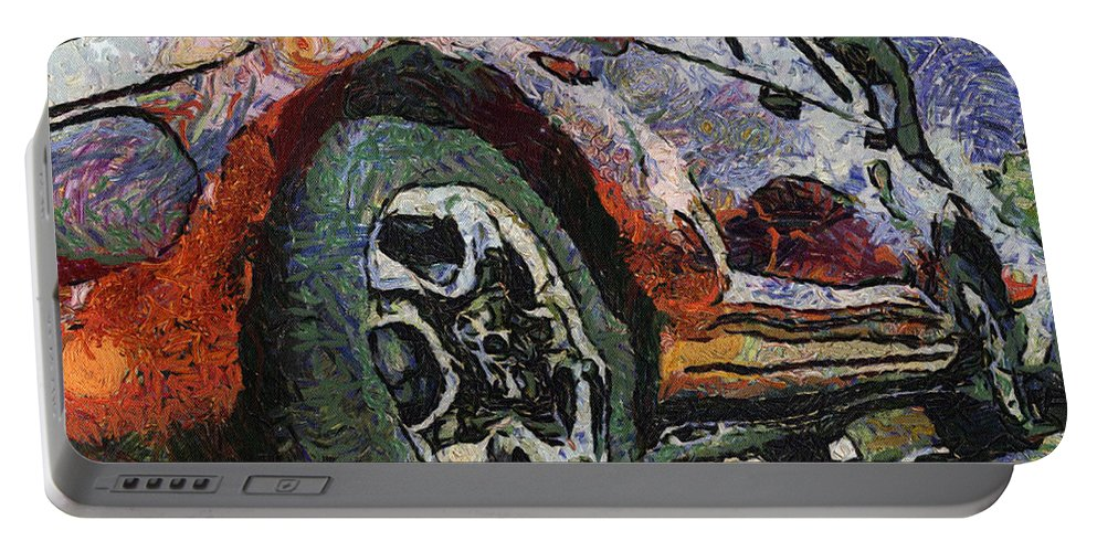 Aluminum Portable Battery Charger featuring the photograph Car Rims 04 Photo Art 04 by Thomas Woolworth