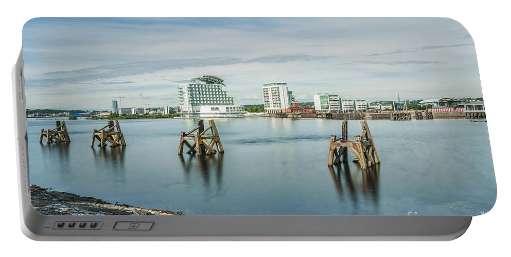Cardiff Bay Portable Battery Charger featuring the photograph Cardiff Bay Towards St Davids Hotel Long Exposure by Steve Purnell