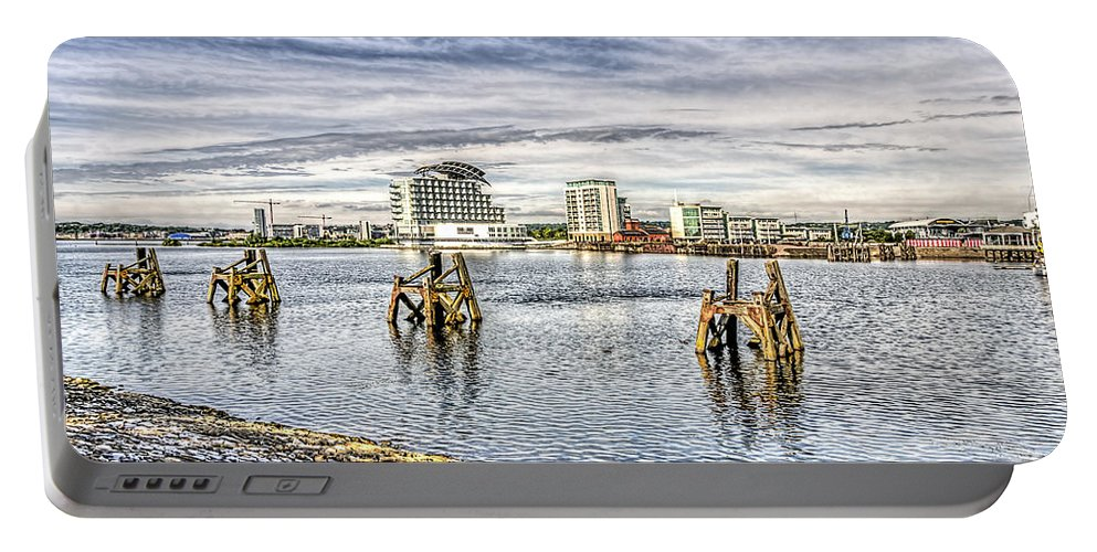 Cardiff Bay Portable Battery Charger featuring the photograph Cardiff Bay Towards St Davids Hotel by Steve Purnell