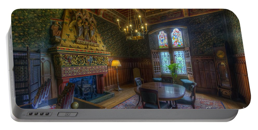 Hdr Portable Battery Charger featuring the photograph Cardiff Castle Apartment Dining Room by Yhun Suarez