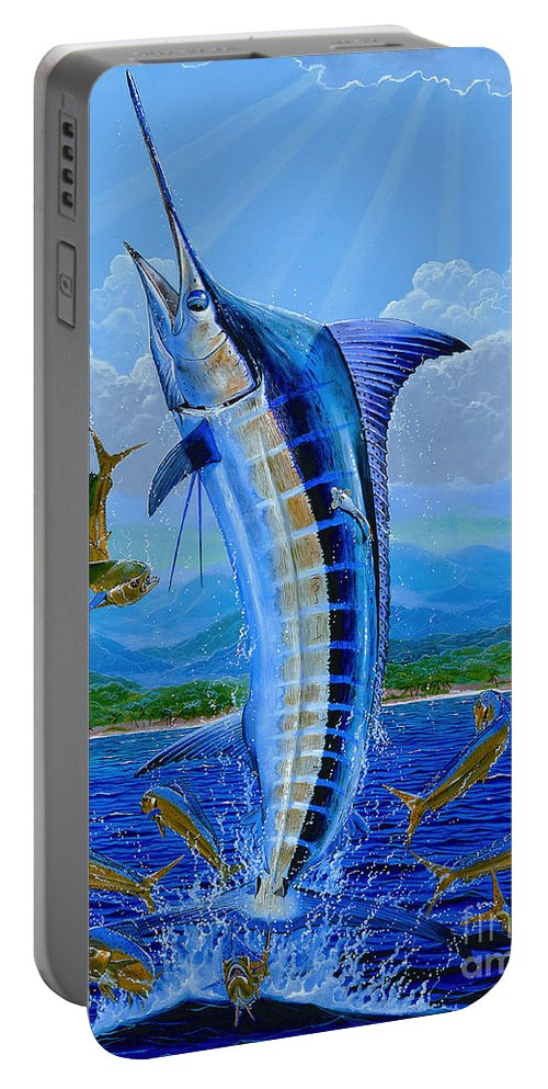Blue Marlin Portable Battery Charger featuring the painting Caribbean Blue Off0041 by Carey Chen