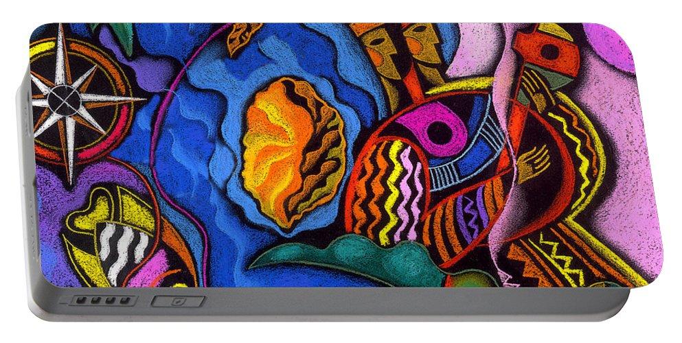 Animal Animals Aquatic Aquatic Life Beach Caribbean Color Colorful Compass Costume Fish Flower Flowers Marine Native Natives Ocean Ocean Life Sea Sea Creatures Sun Tropical Tropics Portable Battery Charger featuring the painting Caribbean by Leon Zernitsky