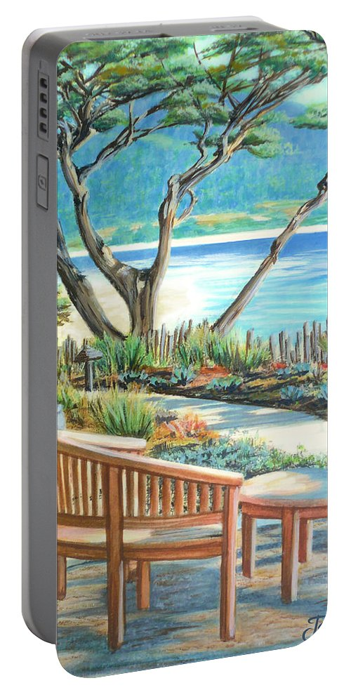 Carmel Portable Battery Charger featuring the painting Carmel Lagoon View by Jane Girardot