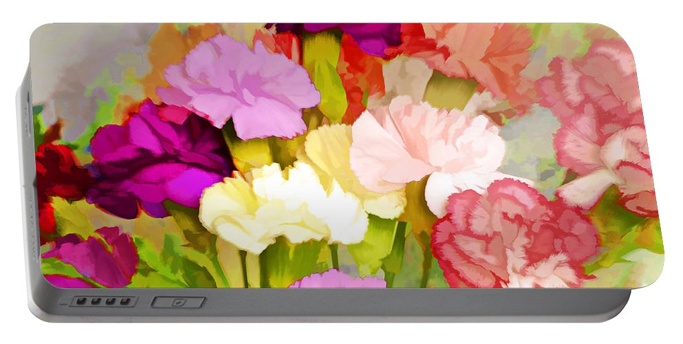 Carnations Portable Battery Charger featuring the photograph Carnation Bouquet by Regina Geoghan