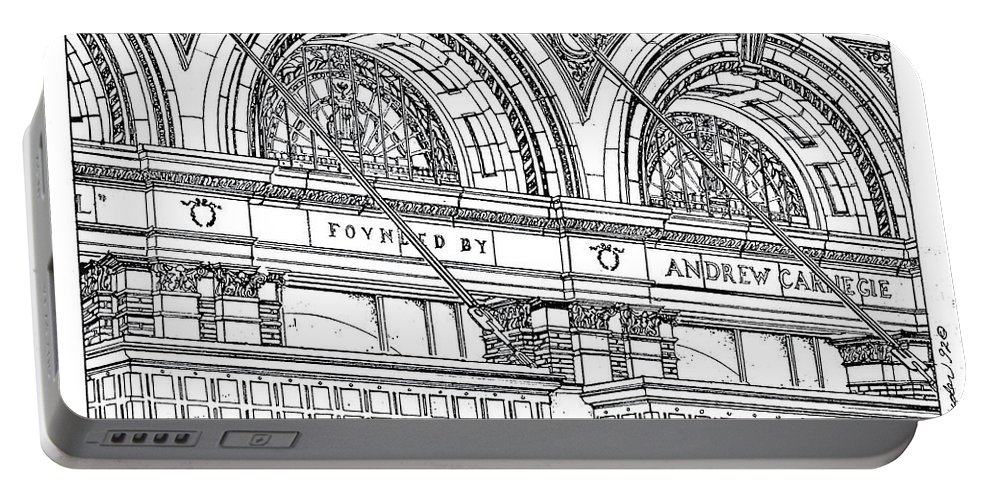 Carnegie Hall Portable Battery Charger featuring the drawing Carnegie Hall by Ira Shander