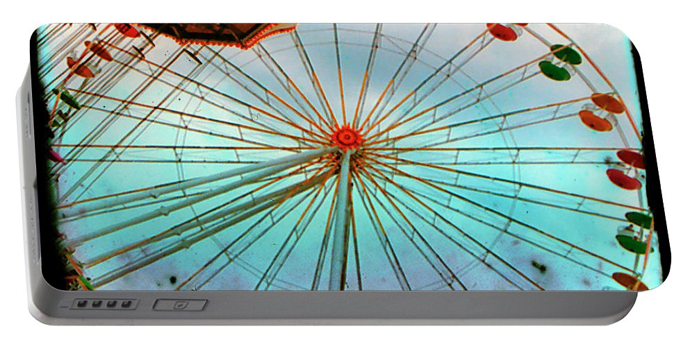 Ferris Wheel Portable Battery Charger featuring the photograph Carnival Colors by Gothicrow Images