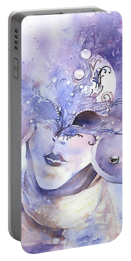 Carnivale Portable Battery Charger featuring the painting Carnival Mask by Ryan Fox