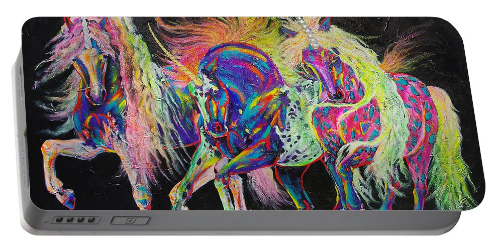 Carnivale Portable Battery Charger featuring the painting Carnivale by Louise Green