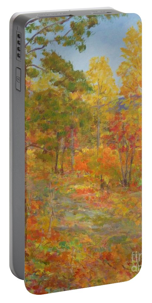 Pantone 2017 Greenery Portable Battery Charger featuring the painting Carolina Autumn Gold by Gail Kent