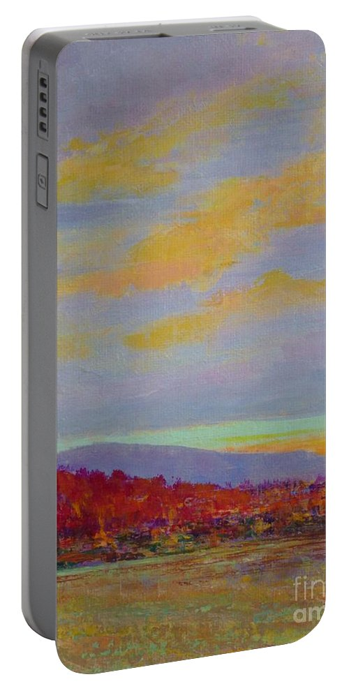 North Carolina Portable Battery Charger featuring the painting Carolina Autumn Sunset by Gail Kent