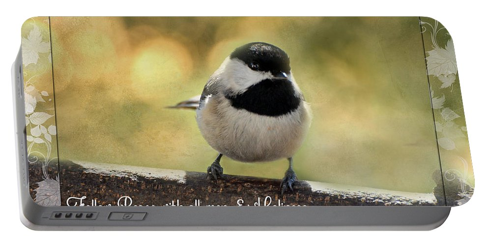 Nature Portable Battery Charger featuring the photograph Carolina Chickadee by Debbie Portwood